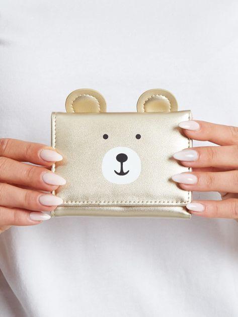 Złoty portfel z nadrukiem