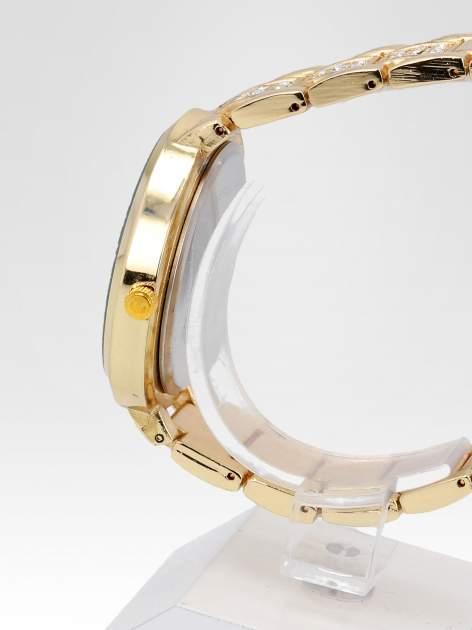 Złoty zegarek damski na bransolecie z białą cyrkoniową tarczą                                  zdj.                                  3