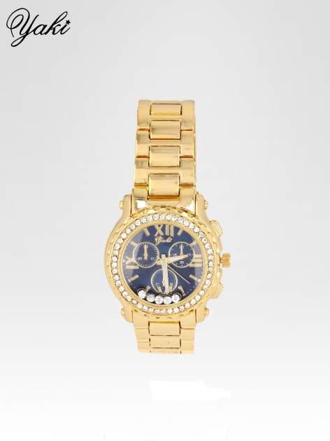Złoty zegarek damski na bransolecie z cyrkoniami na kopercie                                  zdj.                                  1