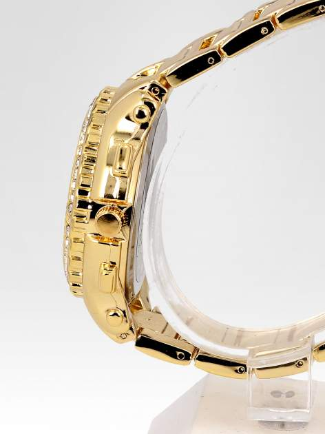 Złoty zegarek damski na bransolecie z cyrkoniami na kopercie                                  zdj.                                  3