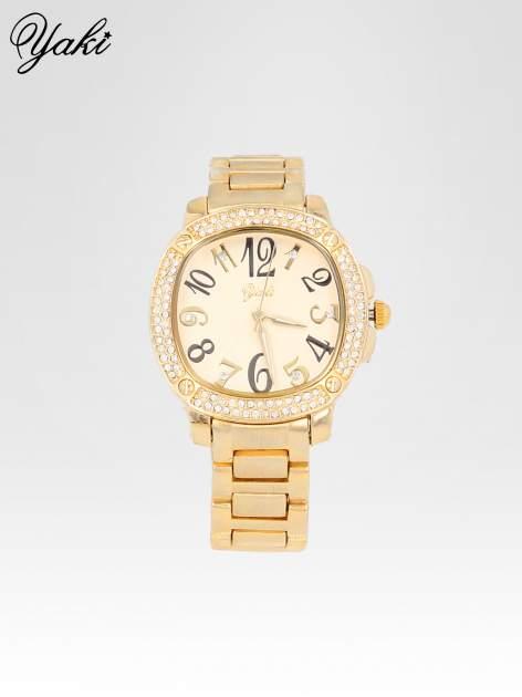 Złoty zegarek damski na bransolecie z dużymi cyframi                                  zdj.                                  1