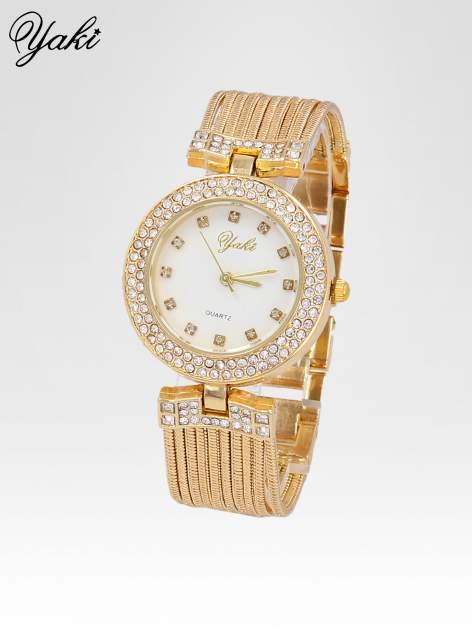 Złoty zegarek damski na bransolecie z łańcuszków z białą tarczą                                  zdj.                                  2