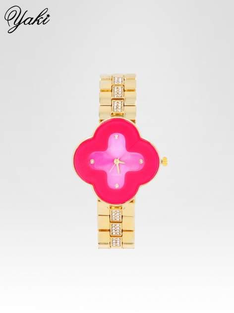 Złoty zegarek damski na bransolecie z różową tarczą koniczyną                                  zdj.                                  1