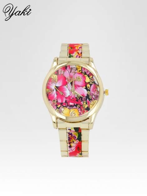 Złoty zegarek damski na bransolecie z różowym motywem kwiatowym