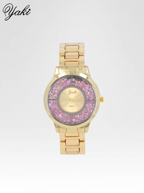 Złoty zegarek damski na bransolecie z tarczą glitter                                  zdj.                                  1