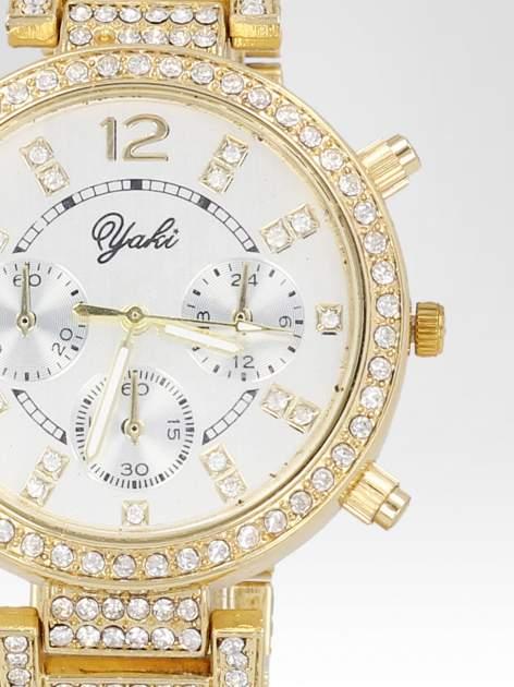 Złoty zegarek damski na bransolecie zdobiny cyrkoniami                                  zdj.                                  6