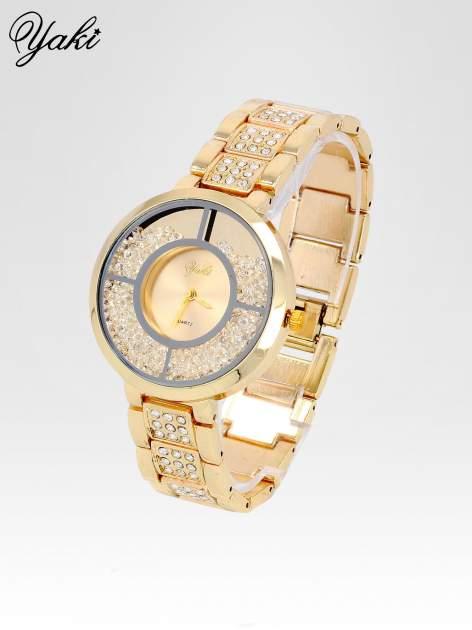 Złoty zegarek damski na bransolecie ze złotą cyrkoniową tarczą                                   zdj.                                  2