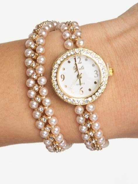 Złoty zegarek damski na podwójnej bransolecie z pereł                                  zdj.                                  1