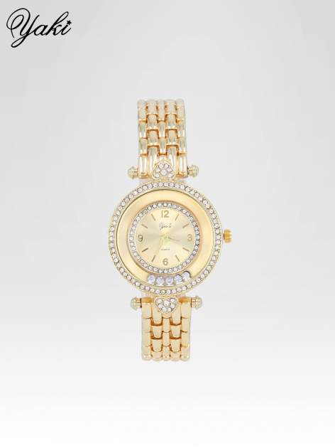 Złoty zegarek na bransolecie z cyrkoniowym serduszkiem