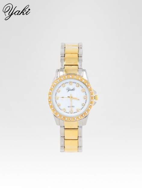 Złoty zegarek z cyrkoniami wokół koperty i tarczy                                  zdj.                                  1
