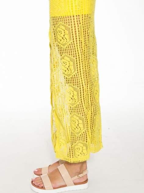 Żółta ażurowa spódnica maxi z rozporkiem                                  zdj.                                  7