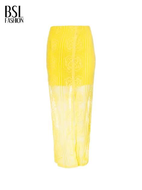 Żółta ażurowa spódnica maxi z rozporkiem                                  zdj.                                  2
