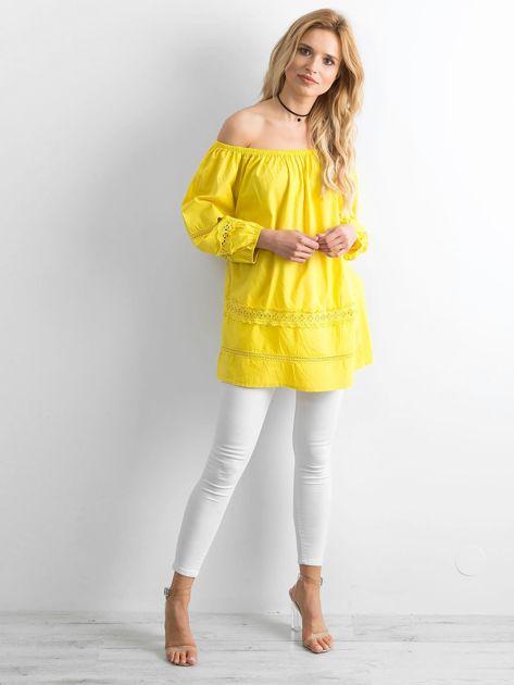 Żółta bawełniana tunika z hiszpańskim dekoltem                              zdj.                              4