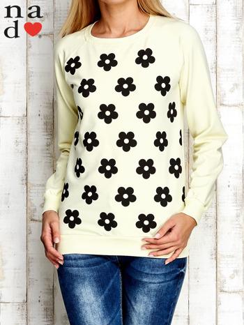 Żółta bluza z nadrukiem kwiatów                                  zdj.                                  1