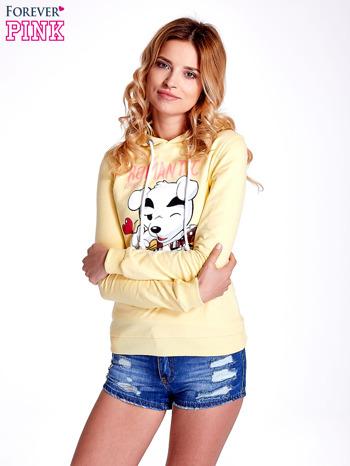 Żółta bluza z nadrukiem psa