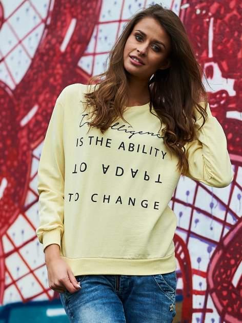 Żółta bluza z napisem                                  zdj.                                  1