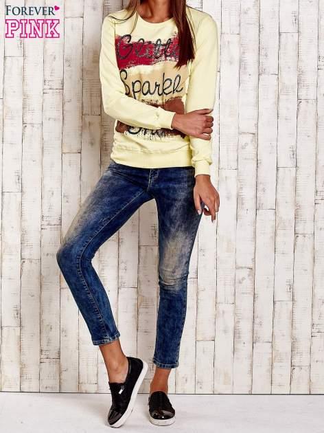 Żółta bluza z napisem GLITTER SPARKLE SHINE                                  zdj.                                  4