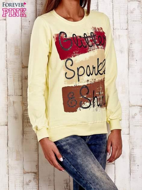 Żółta bluza z napisem GLITTER SPARKLE SHINE                                  zdj.                                  3