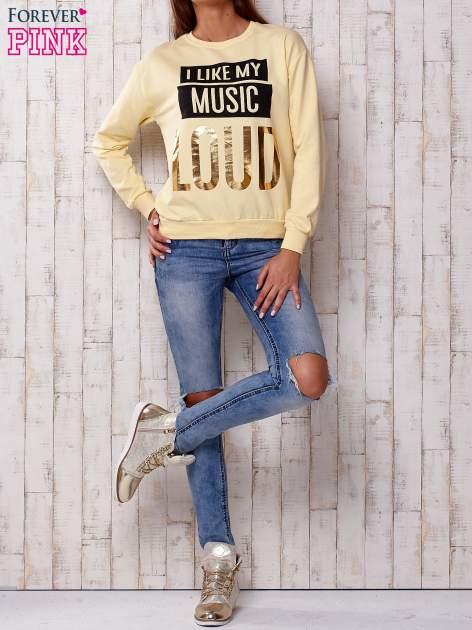 Żółta bluza z napisem I LIKE MY MUSIC LOUD                              zdj.                              4