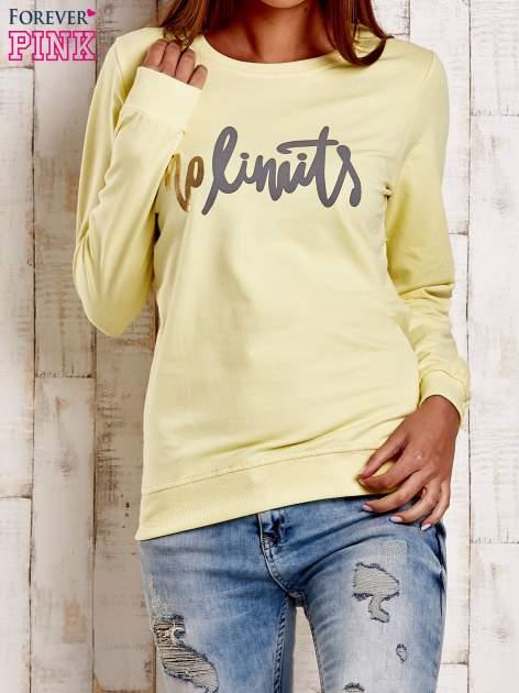 Żółta bluza z napisem NO LIMITS                                  zdj.                                  1