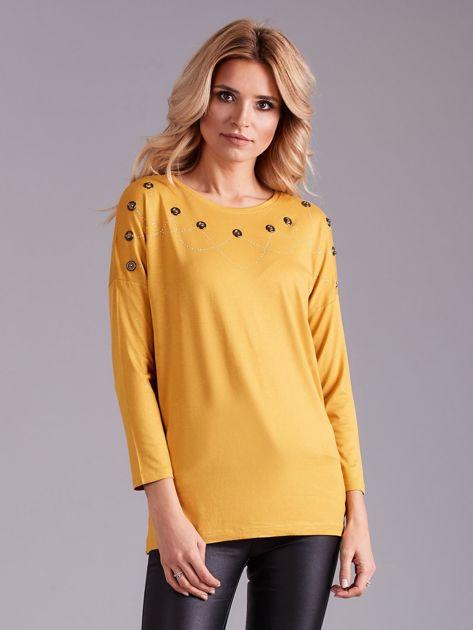 Żółta bluzka damska z aplikacją                              zdj.                              1