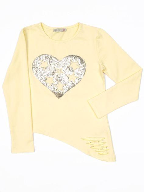 Żółta bluzka dla dziewczynki z cekinowym sercem i dżetami                              zdj.                              1