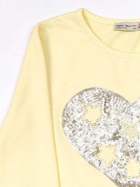 Żółta bluzka dla dziewczynki z cekinowym sercem i dżetami                              zdj.                              3