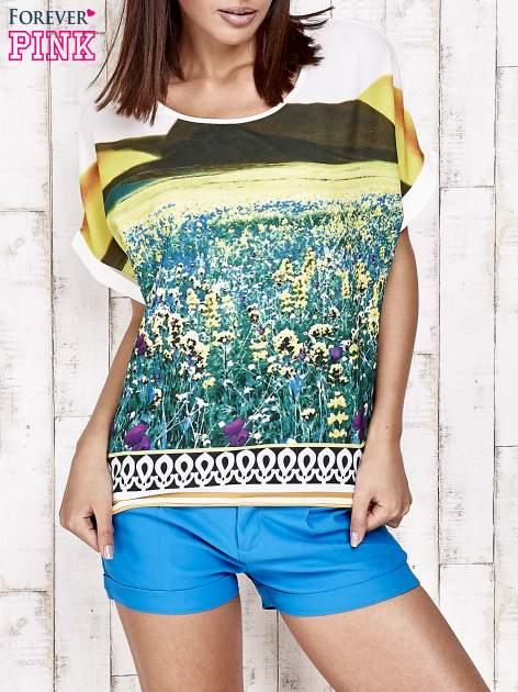 Żółta bluzka koszulowa z nadrukiem łąki