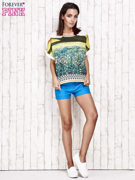 Żółta bluzka koszulowa z nadrukiem łąki                                   zdj.                                  2
