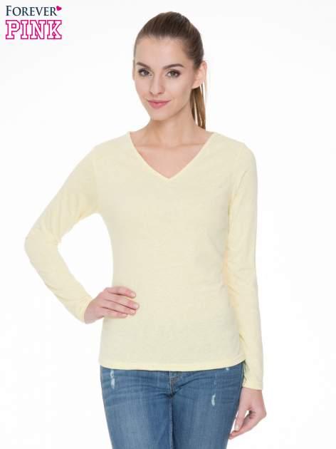 Żółta bluzka z długim rękawem z bawełny