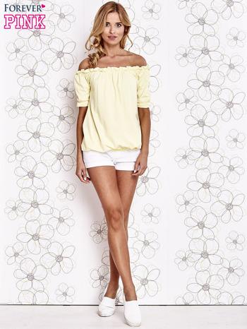 Żółta bluzka z hiszpańskim dekoltem                                   zdj.                                  2