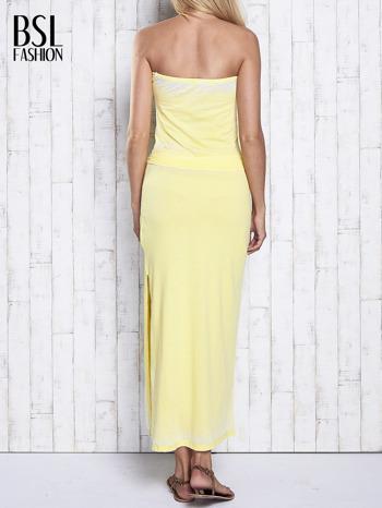 Żółta dekatyzowana sukienka maxi na gumkę                                  zdj.                                  2