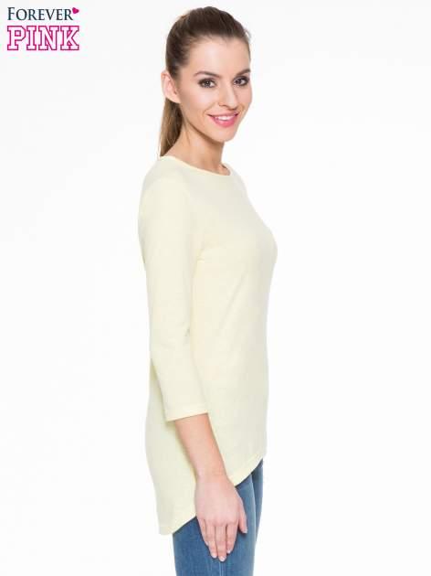 Żółta gładka bluzka z dłuższym tyłem                                  zdj.                                  3