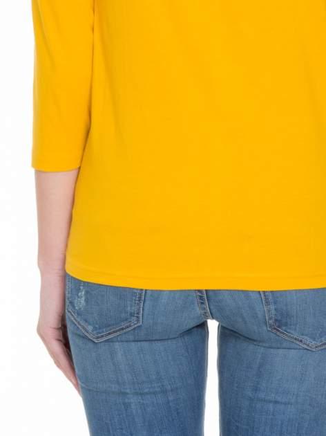 Żółta gładka bluzka z rękawem 3/4                                  zdj.                                  5