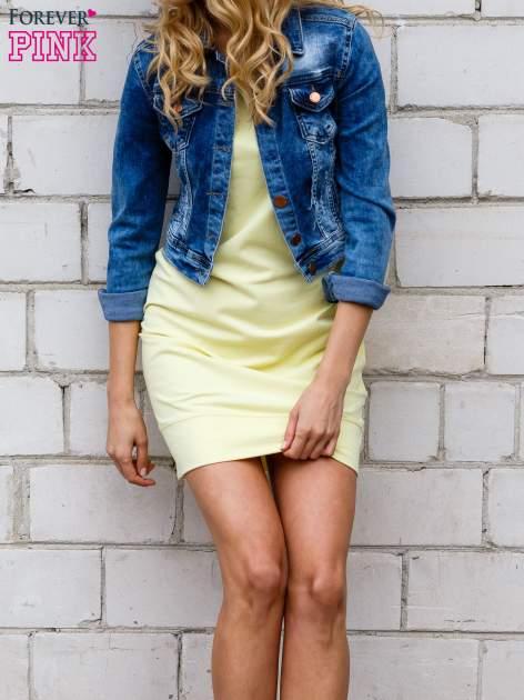 Żółta gładka sukienka ze ściągaczem na dole                                  zdj.                                  1