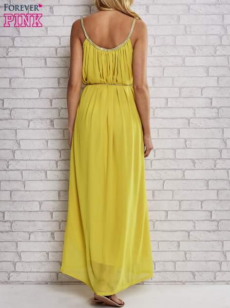 Żółta grecka sukienka maxi ze złotym paskiem                                  zdj.                                  4