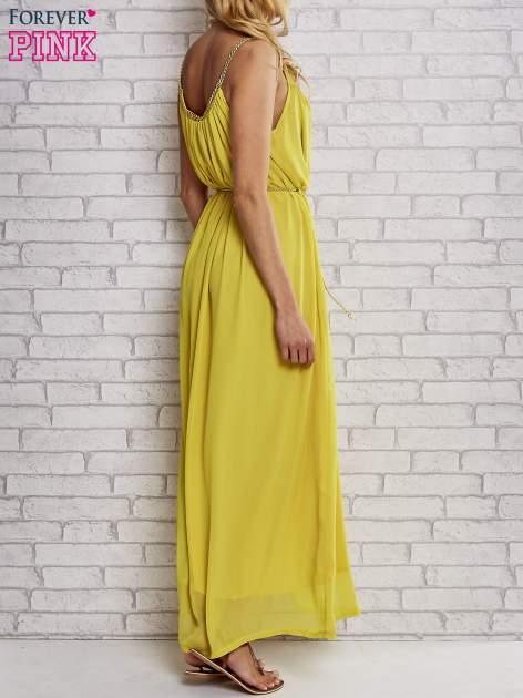 Żółta grecka sukienka maxi ze złotym paskiem                                  zdj.                                  5