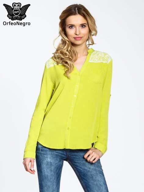 Żółta koszula damska z haftem na ramionach