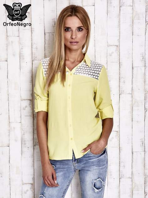 Żółta koszula damska z koronkową górą                                  zdj.                                  5