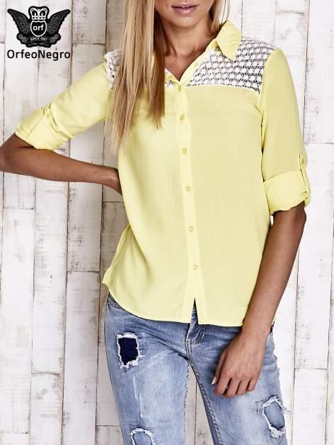 Żółta koszula damska z koronkową górą                                  zdj.                                  1