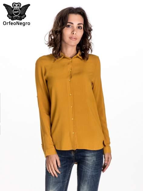 Żółta koszula z haftowanym kołnierzykiem