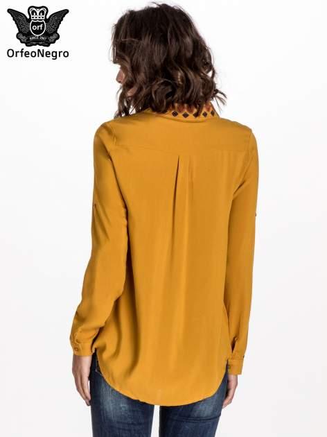 Zółta koszula z haftowanym kołnierzykiem                                  zdj.                                  3