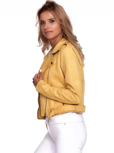 Żółta kurtka ramoneska z suwakami                              zdj.                              5