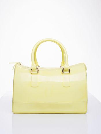 Żółta lakierowana torba kuferek bowling                                  zdj.                                  1