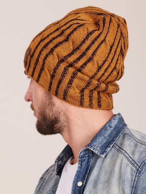 Żółta męska zimowa czapka w warkocze                              zdj.                              3