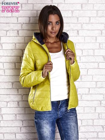 Żółta ocieplana kurtka z kontrastowym wykończeniem kaptura                                  zdj.                                  4