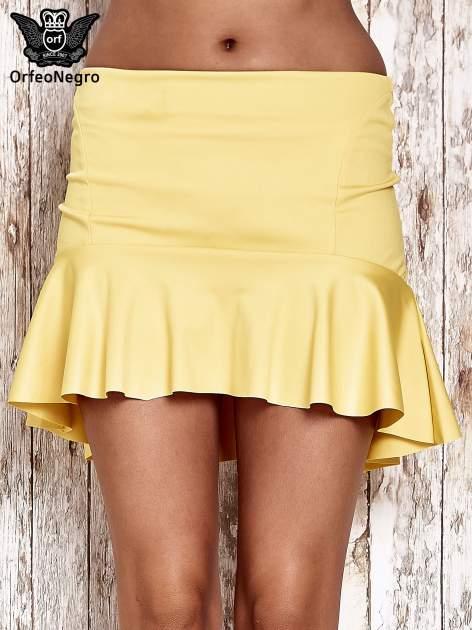 Żólta spódnica mini z falbanką                                  zdj.                                  1