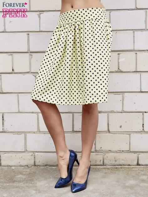 Żółta spódnica w grochy z plisami                                  zdj.                                  3
