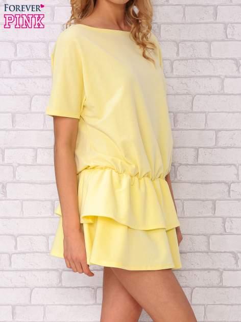 Żółta sukienka dresowa z podwójną falbaną                                  zdj.                                  3
