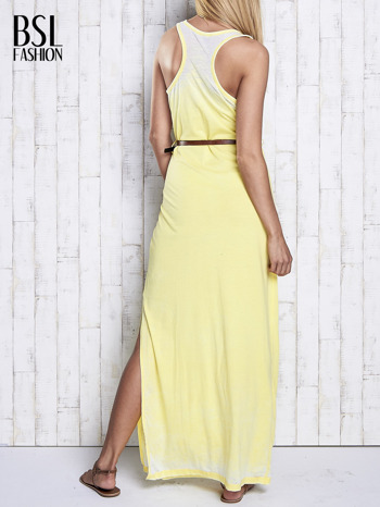 Żółta sukienka maxi acid wash                                  zdj.                                  2